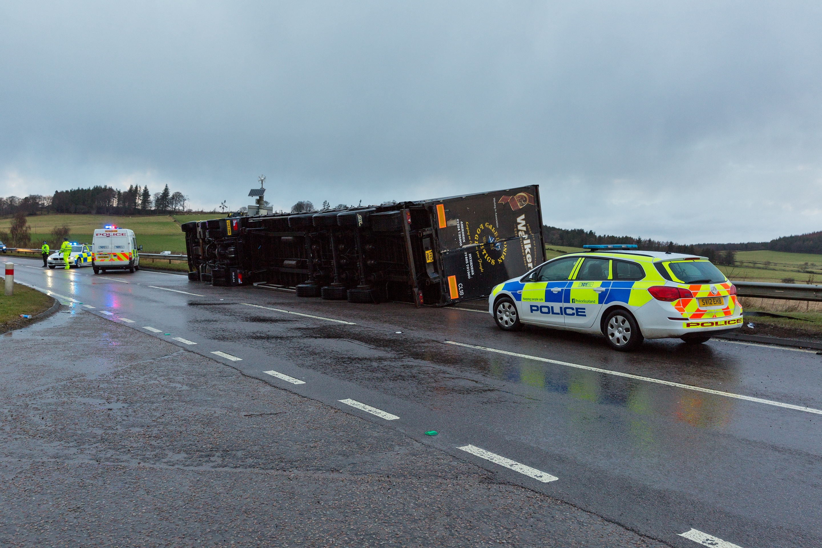 This is a lorry that has overtunrned on A96 approx 1/4 east of the A97 junction.