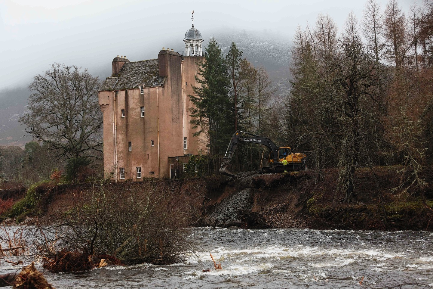 Abergeldie Castle sitting dangerously close to the river earlier this week
