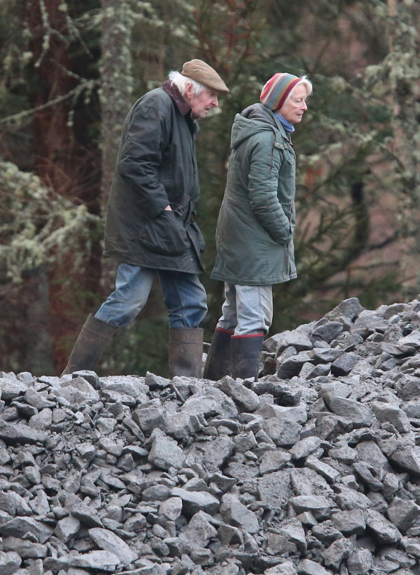 John Seton Howard Gordon, the owner of Abergeldie Castle views rocks which have been put in  the River Dee after storms last week came close to washing the castle  away. PRESS ASSOCIATION Photo. Picture date: Wednesday January 6, 2016. Photo credit should read: Andrew Milligan/PA Wire