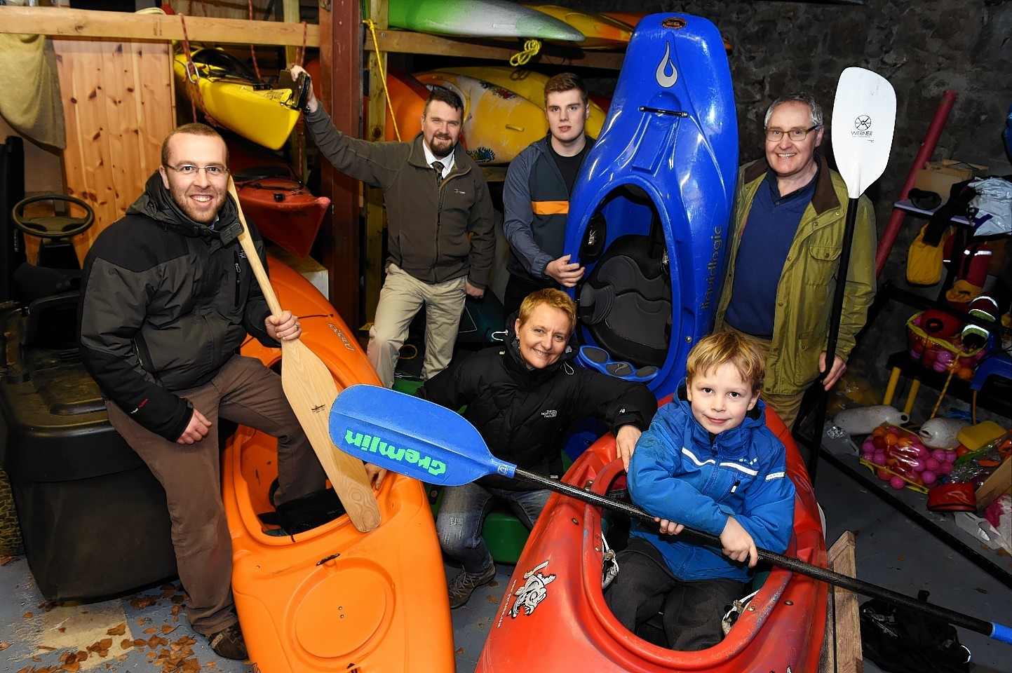 Club members Chris Redmond, architect Duncan Robson, Dale Kitching, Thomas and Mark Mitchell and Ben Redmond