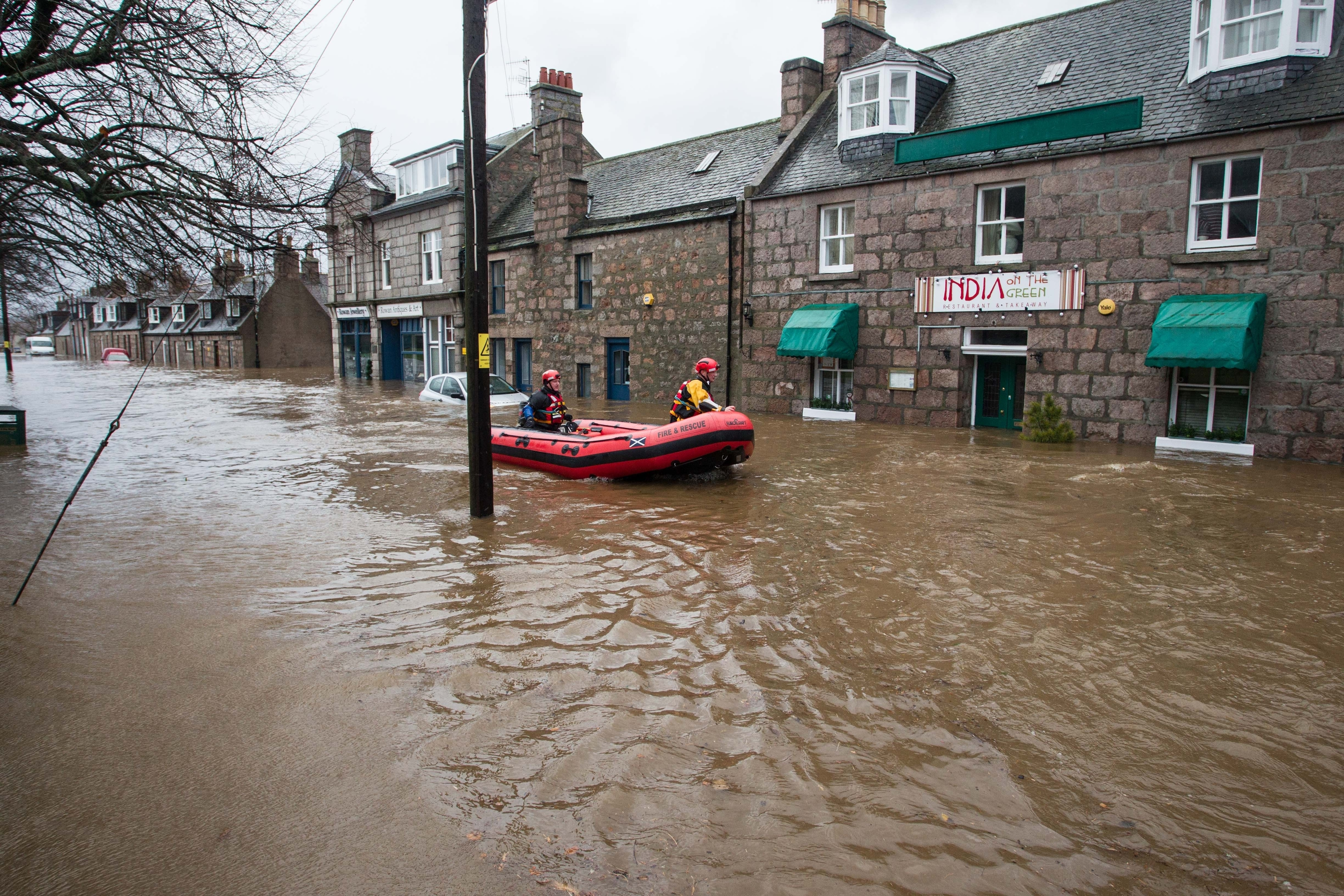 Rescue efforts in Ballater during the floods