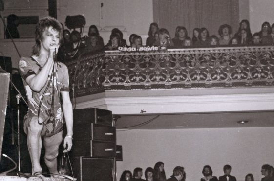 David Bowie in Ziggy Stardust guise at Aberdeen's Music Hall in 1973