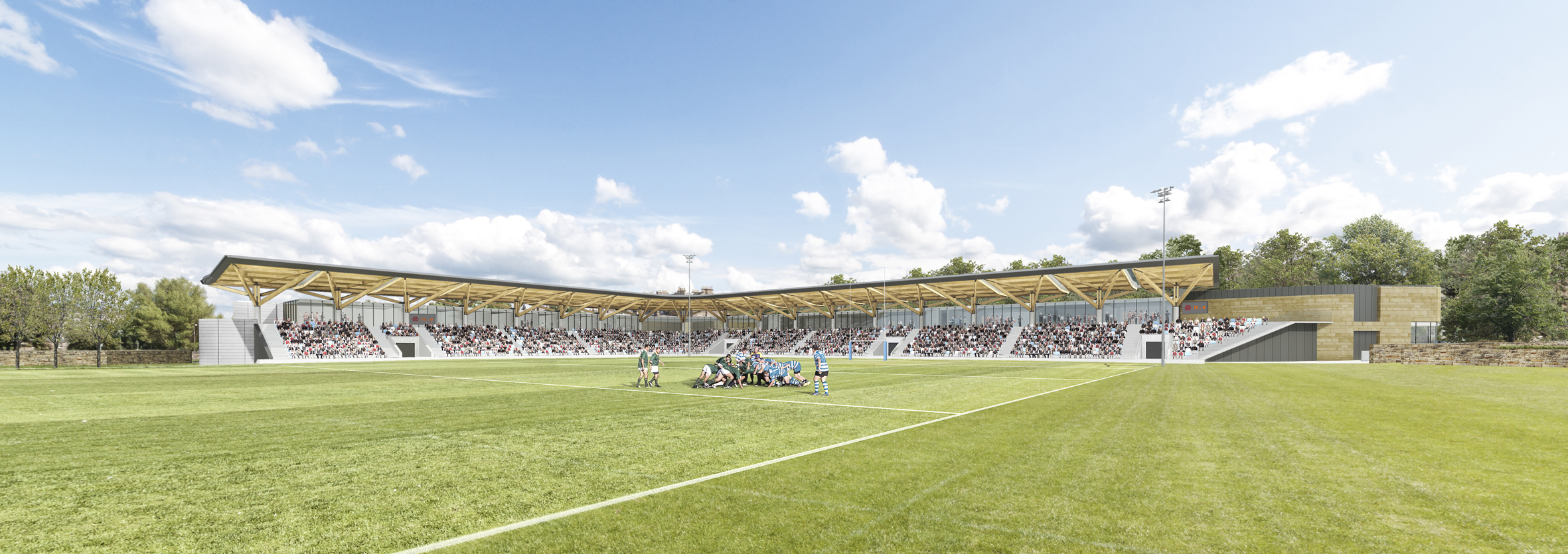 A computer generated image of the pitch and stand at Raeburn Place