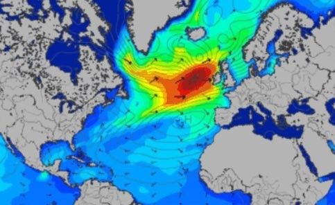 The dark patches within the red shapes indicate the intensity of the swell