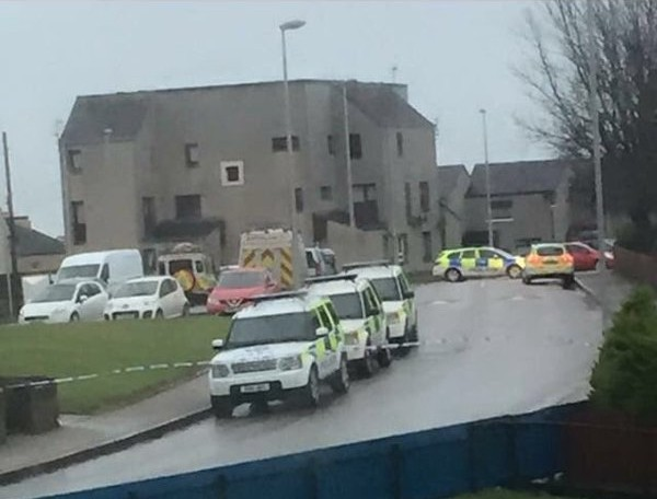 Police at the scene in Peterhead. Picture by Jennifer Cameron