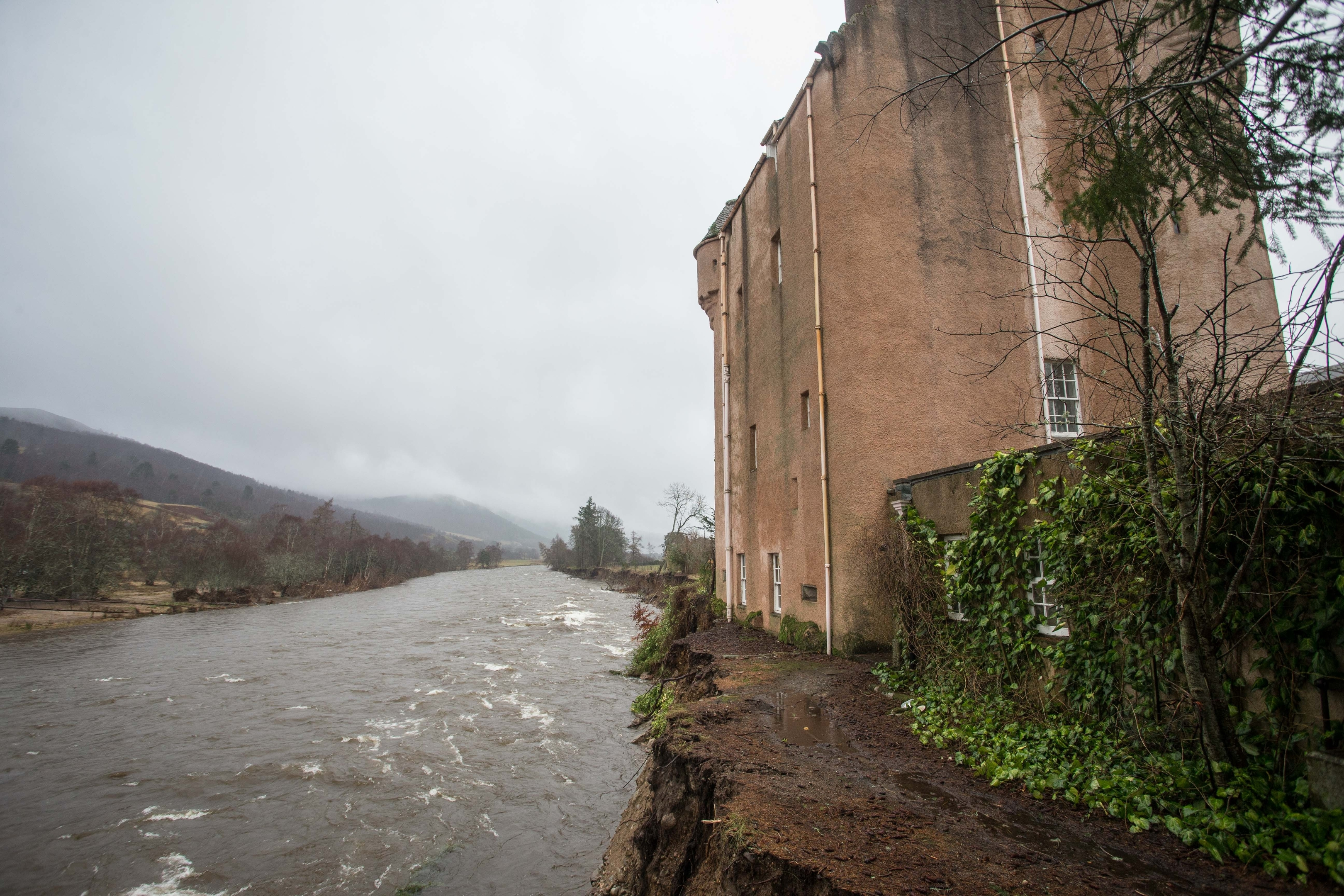 Abergeldie Castle has been left dangerously close to the River Dee