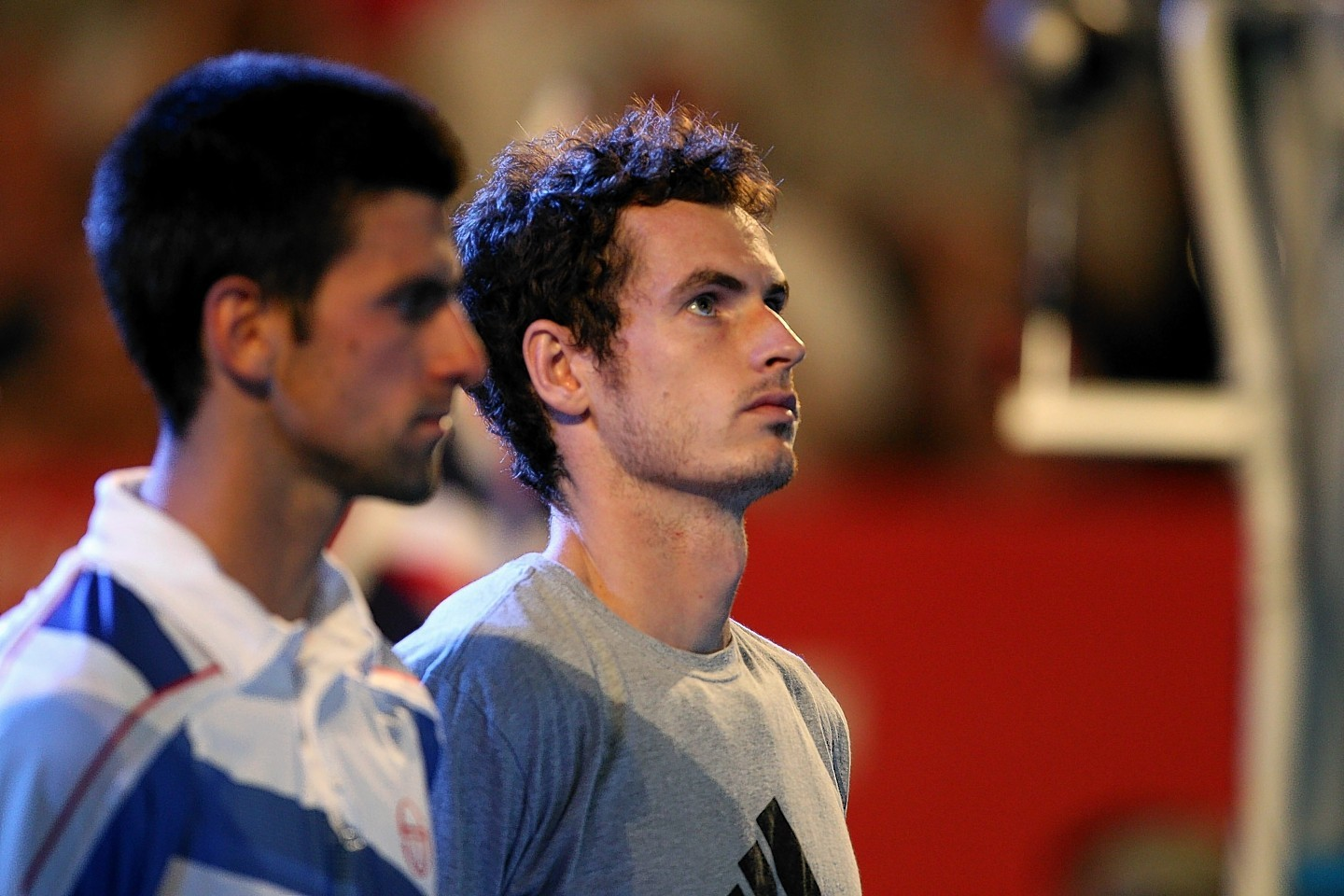 A dejected Murray alongside Djokovic after the Serb won the 2011 final