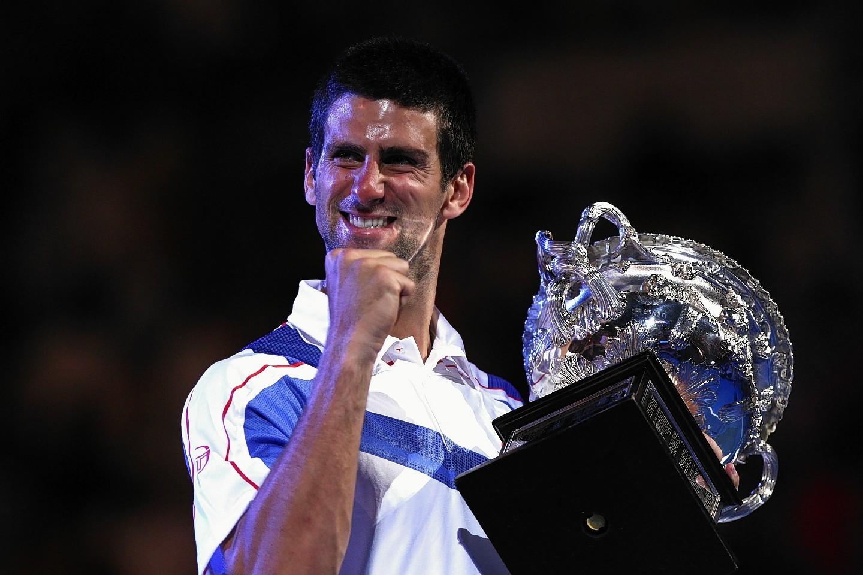Djokovic celebrates his 2011 Australian Open win