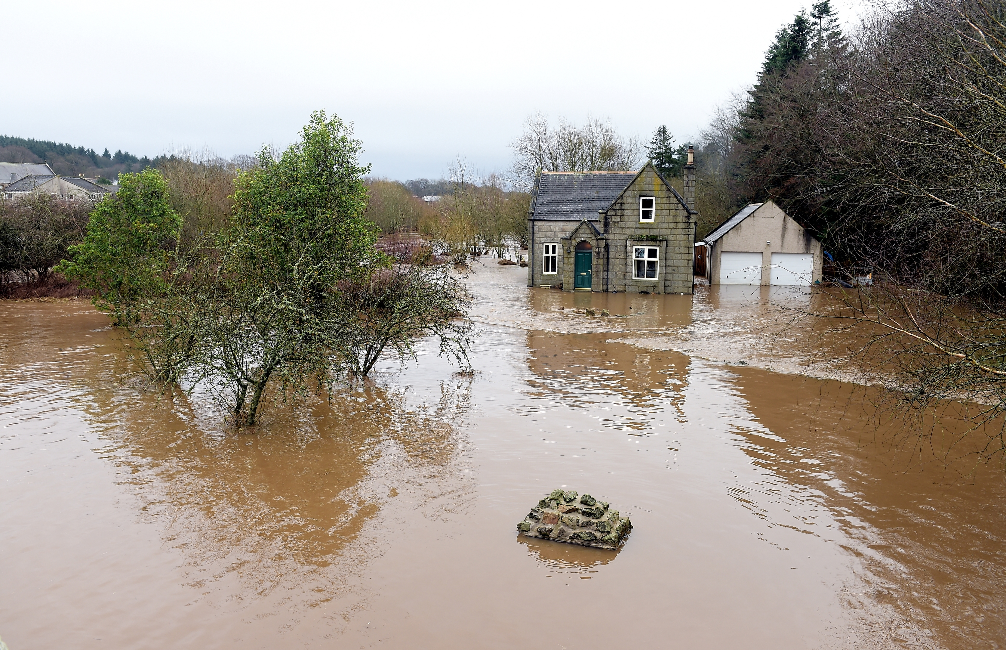 The River Ythan has burst it's banks at Ellon. The home of George Thomson on the banks of the Ythan near the old bridge which was flooded last night.