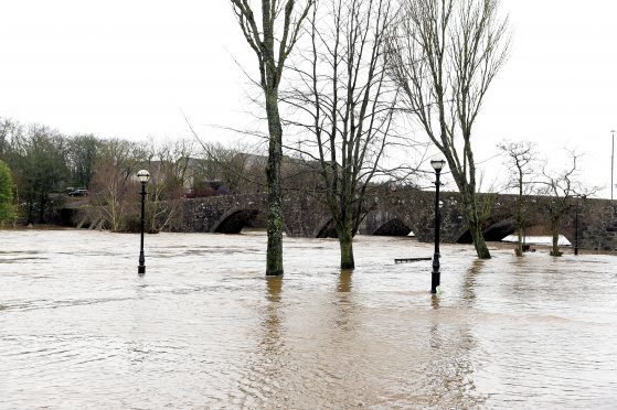 The River Ythan when it burst its banks at Ellon.
