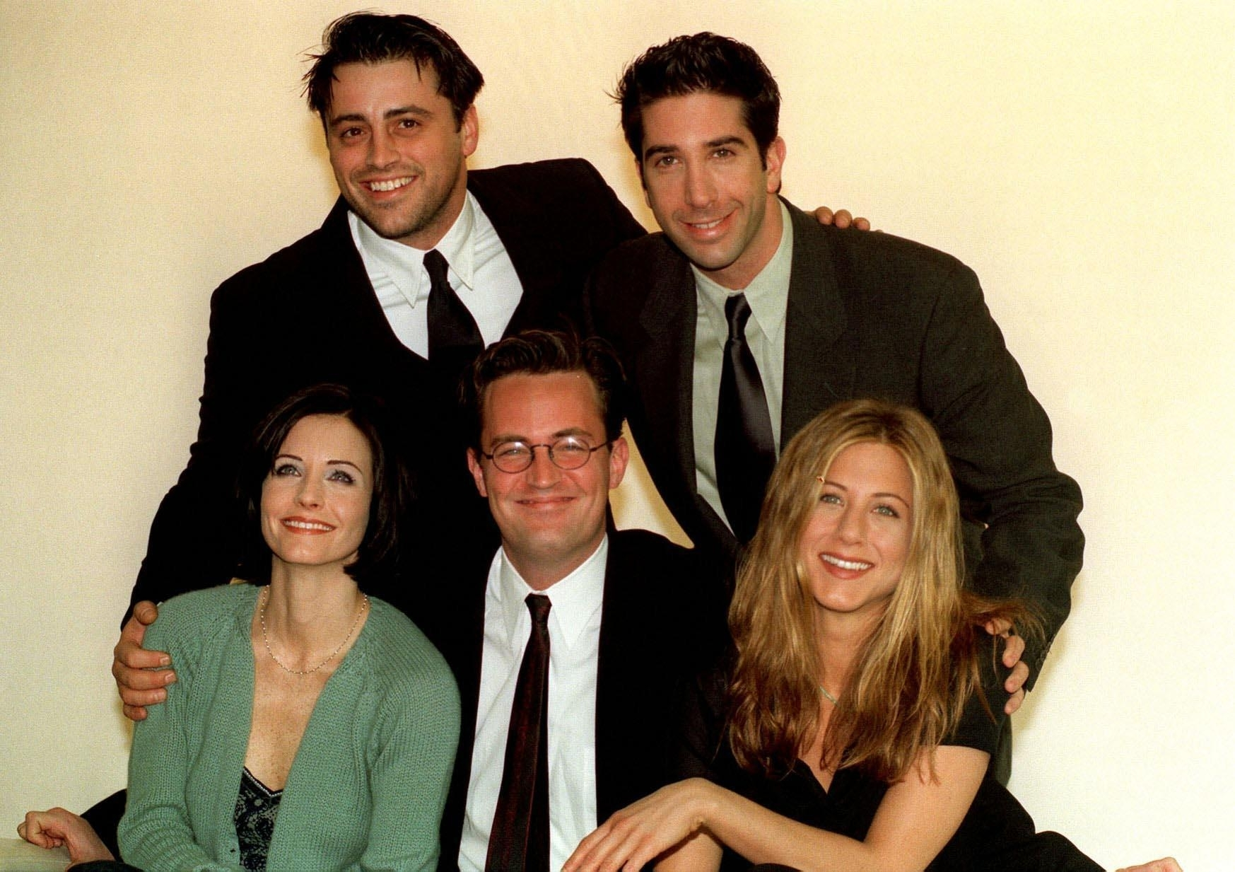 Stars of the American sitcom Friends (left to right back) Matt Le Blanc, David Schwimmer, (left-right front) Courteney Cox, Matthew Perry and Jennifer Aniston as the cast will reunite for a two-hour special, US broadcaster NBC has said.