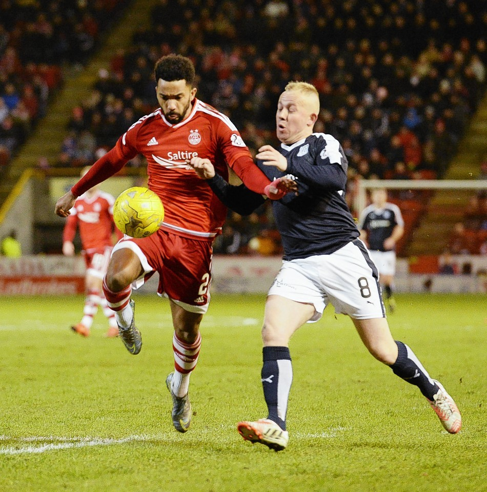 Nicky Low challenges former Dons team mate Shay Logan