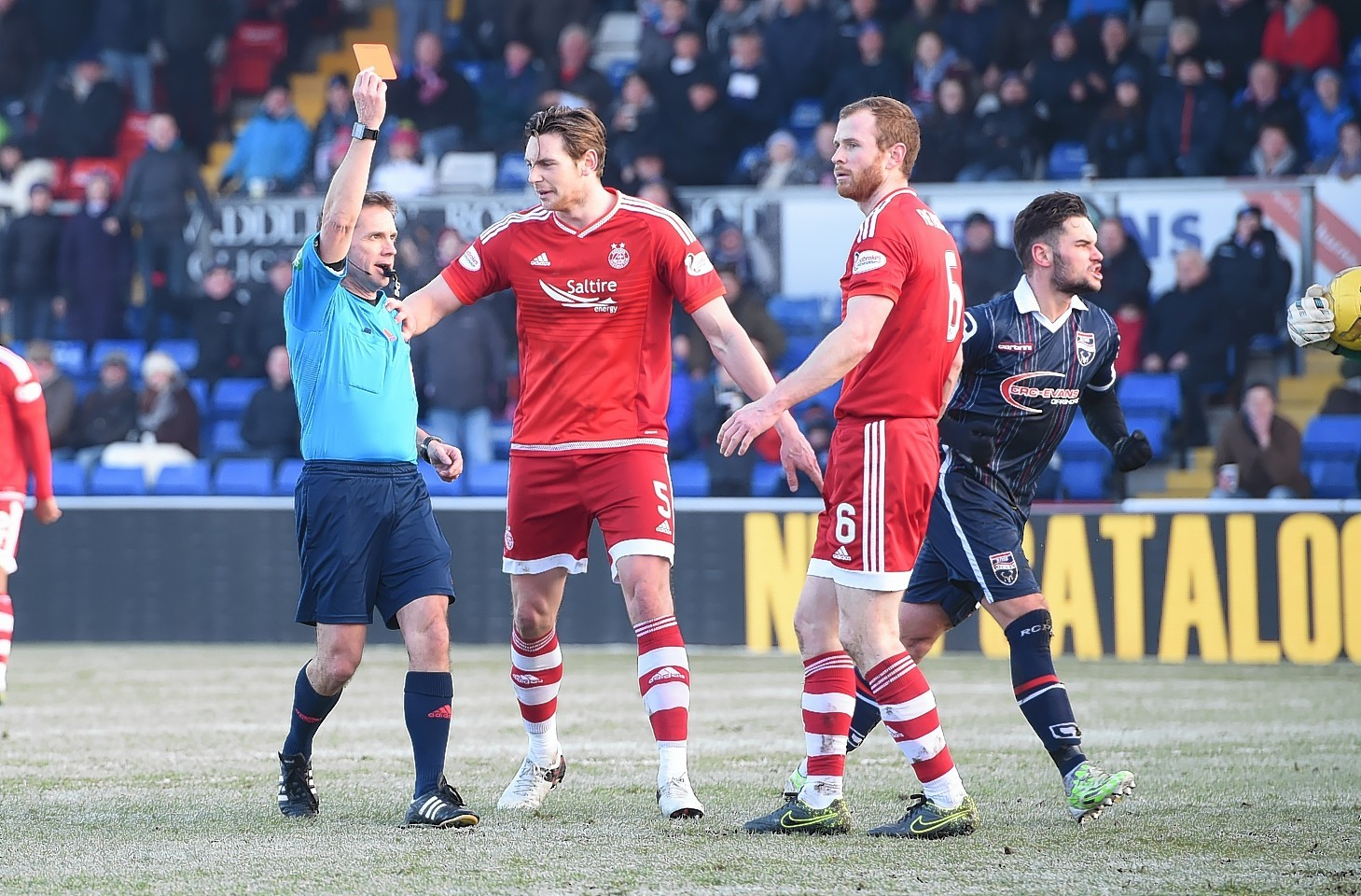 Aberdeen's Mark Reynolds (right) is sent off against Ross County