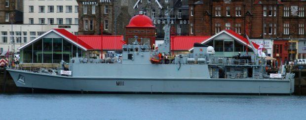 Minehunter HMS Blyth at the North Pier.