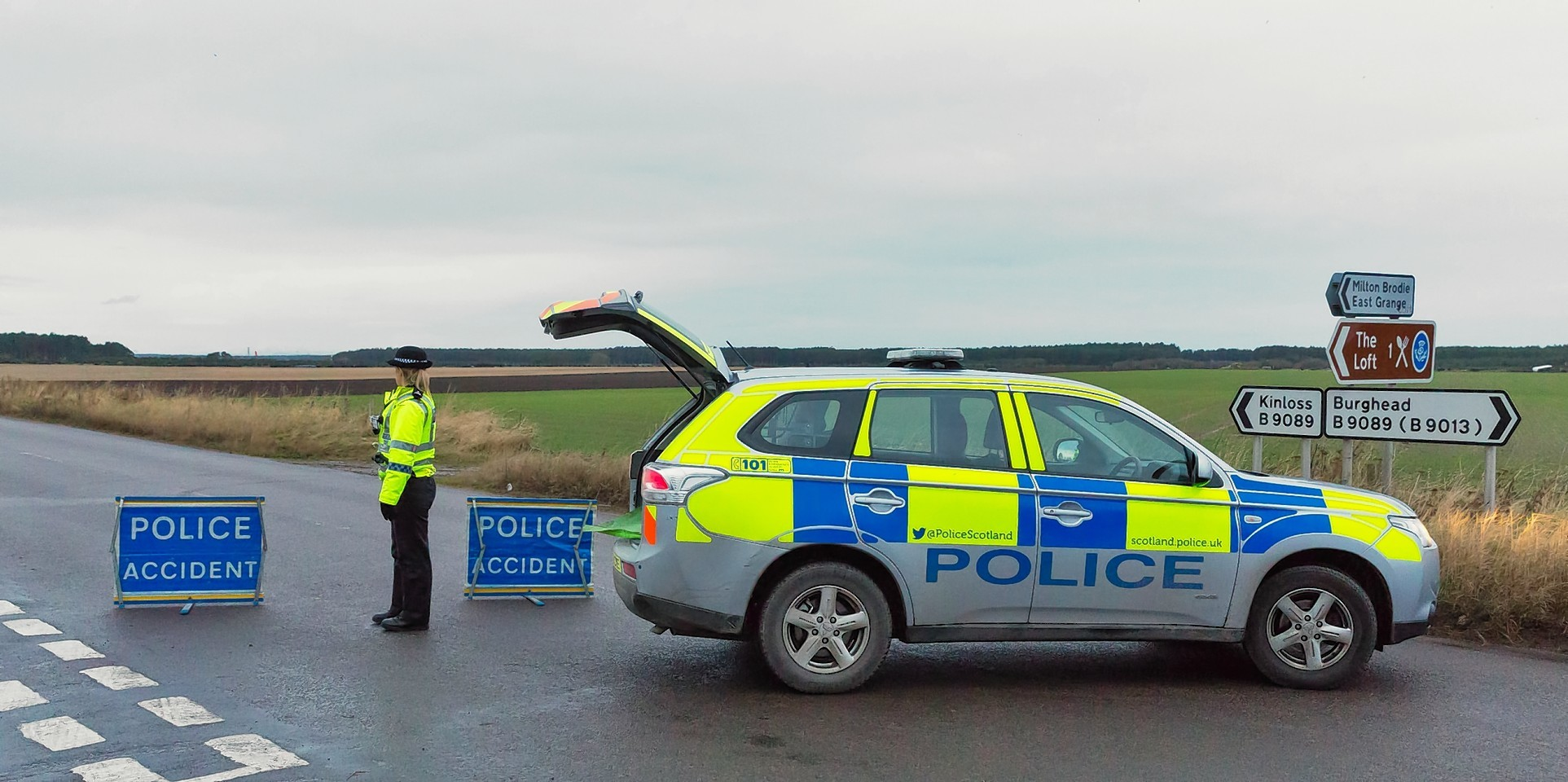 The scene of the crash on the B9089 Kinloss to Roseisle road