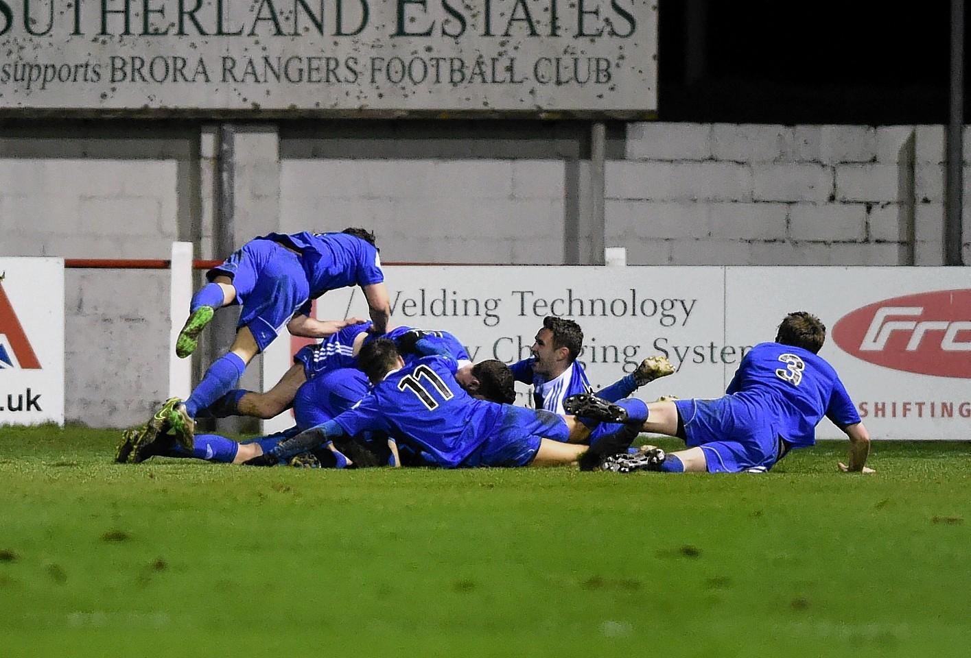 Nairn celebrate Robert Duncanson scoring the visitors' second goal. Picture by Gordon Lennox