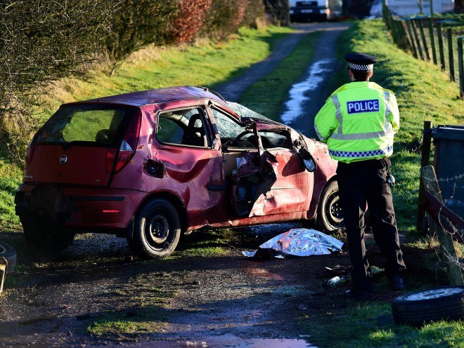 A crash which happened near New Pitsligo on Wednesday. The driver was seriously injured.