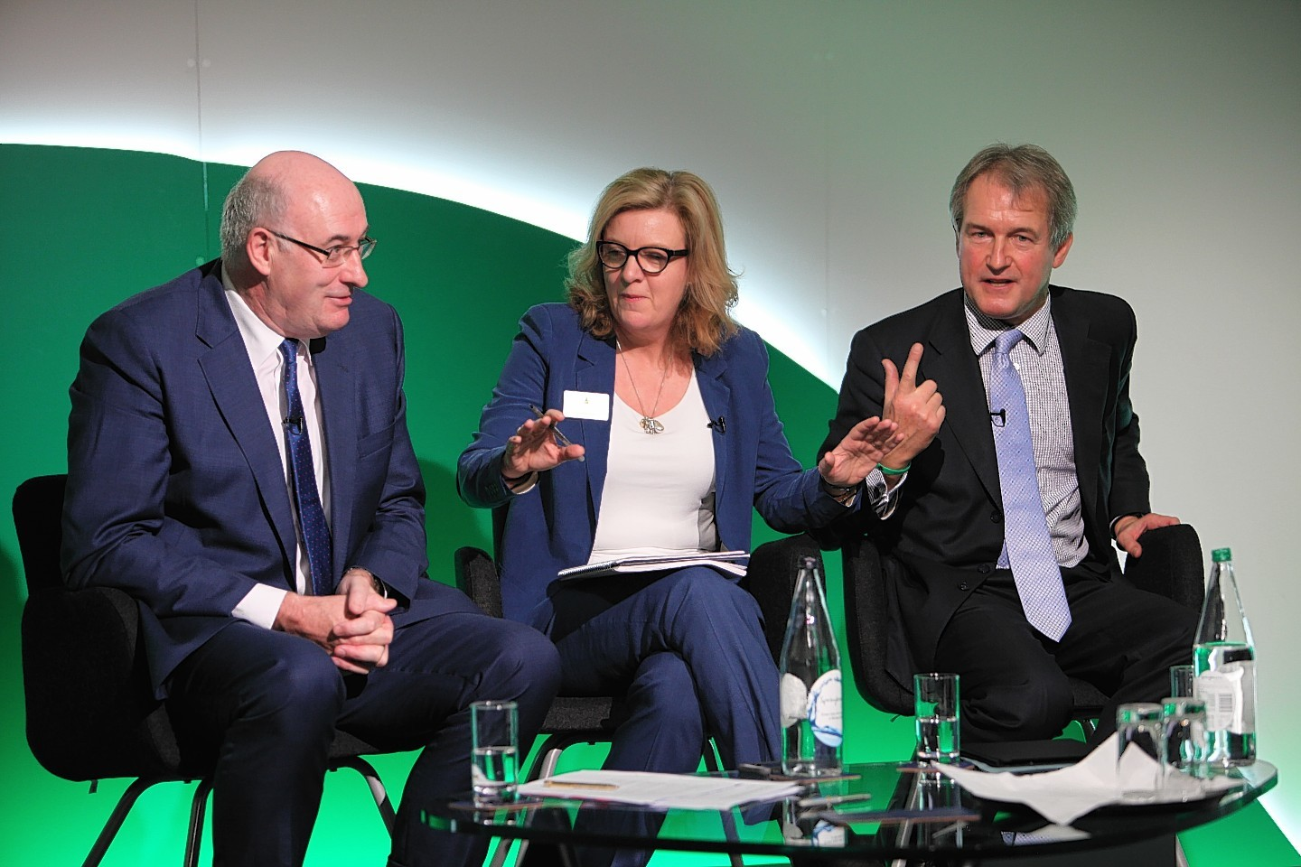 Phil Hogan, session chair Charlotte Smith, and Owen Paterson