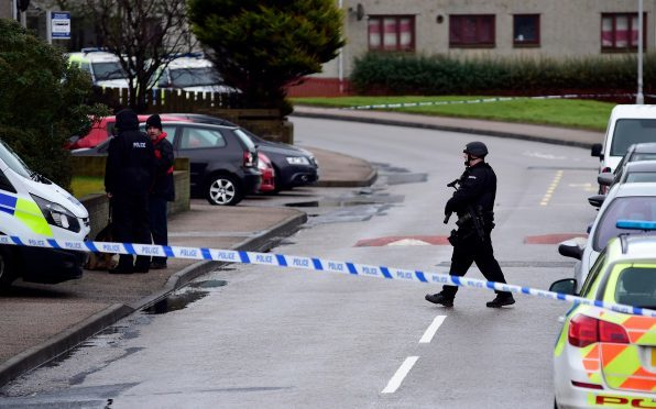 Armed police at the scene in Peterhead