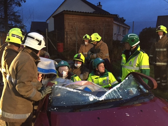 Firefighters and police officers will take part in a mock crash in an Aberdeenshire town next month as they campaign for safer roads across the region.