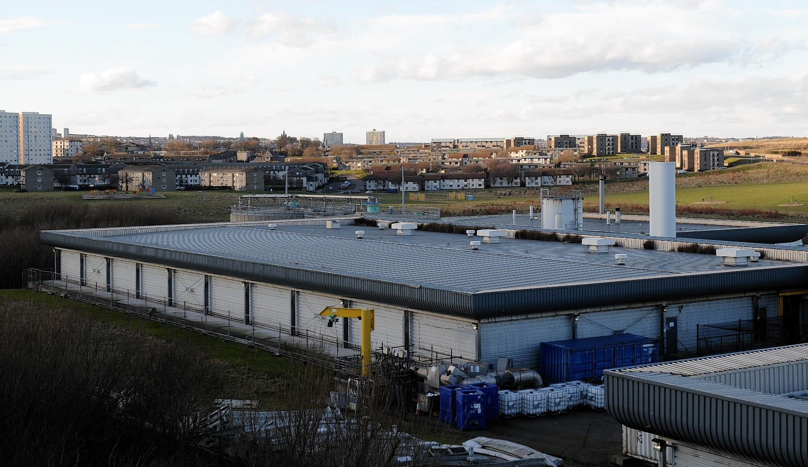 Nigg Waste Water Treatment Plant, Coast Rd, Aberdeen, with Torry in the background.