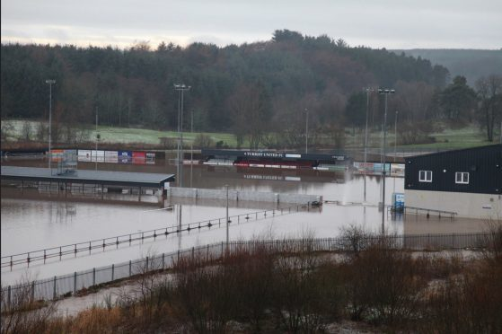 Turriff United's The Haughs pitch has been badly hit by the floods. Pictures by Mike Rawlins of My Turriff
