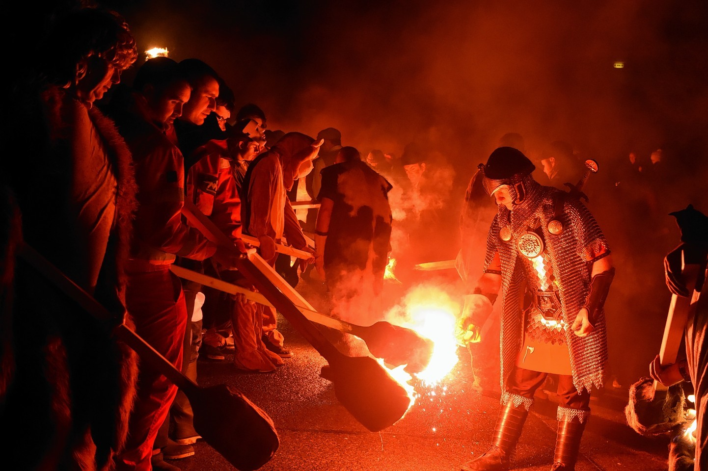 Up Helly Aa, Lerwick, Shetland. The jarls on the march with the burning of the galley with guizer jarl, Mark Evans. Picture by Jim Irvine 26-1-16