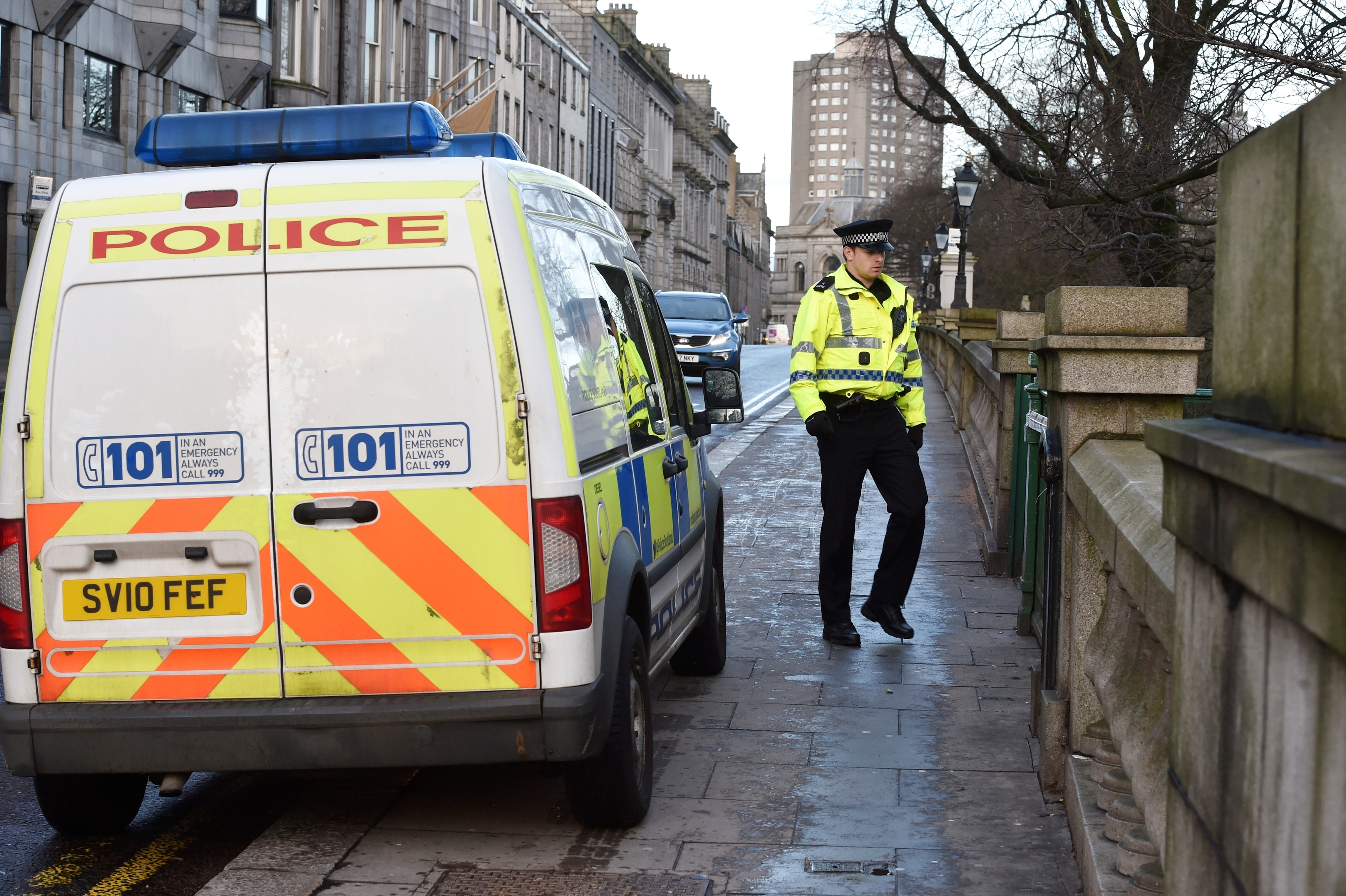 Police and forensic officers attend Union Terrace Gardens. Pictures by COLIN RENNIE
