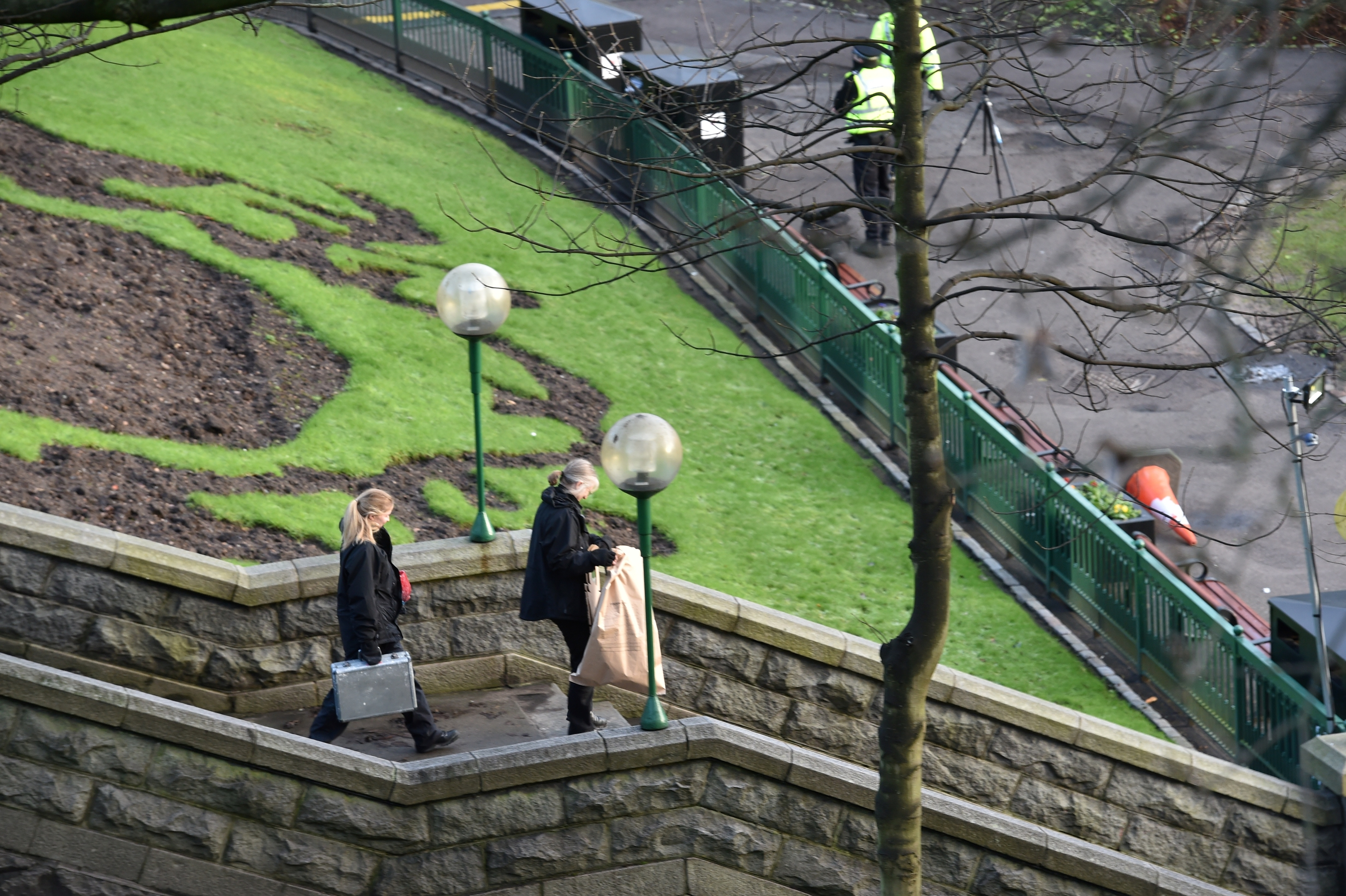 Police and forensic officers attend Union Terrace Gardens.