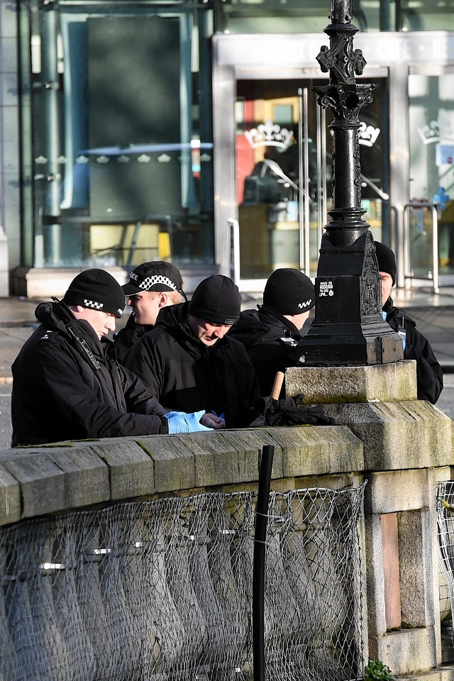 Police Scotland officers before they began the search of Union Terrace Gardens