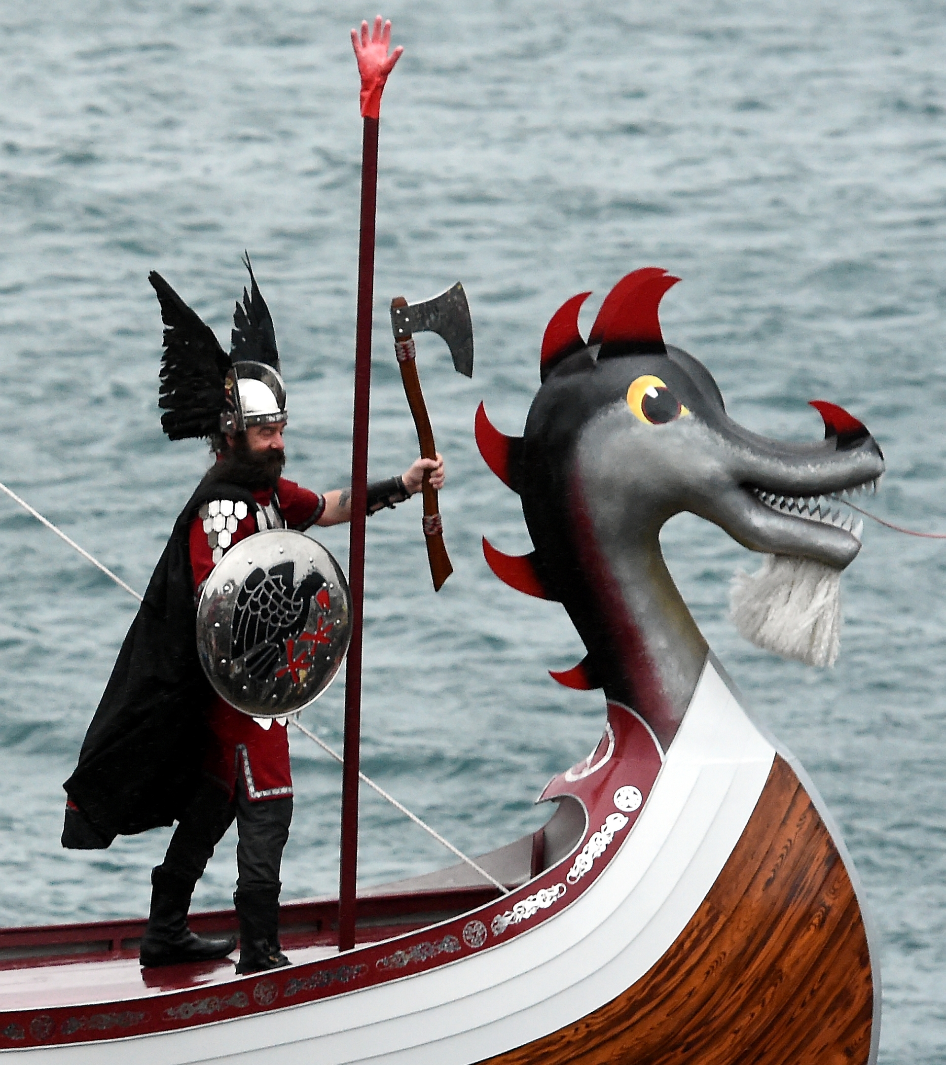 Up Helly Aa, Lerwick, Shetland. The morning march in Lerwick. Guizer Jarl, Mark Evans on the galley.