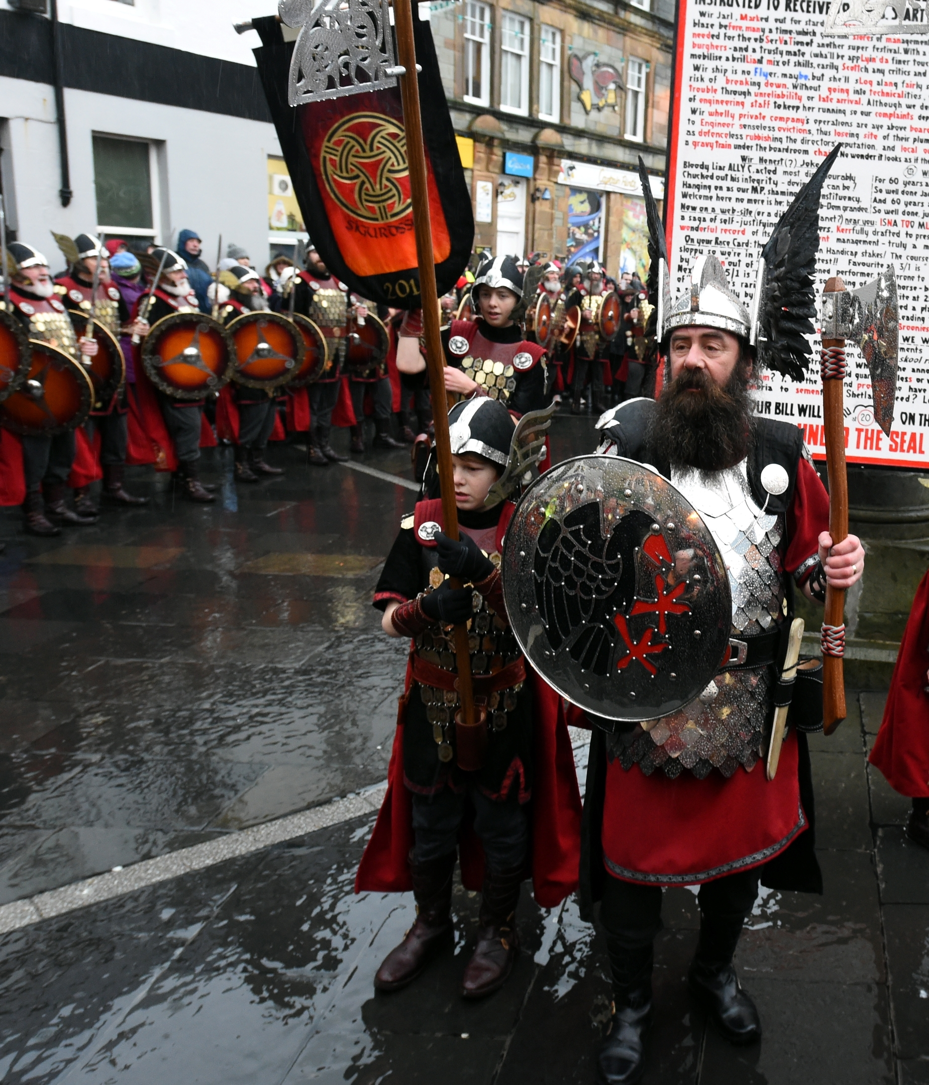 Up Helly Aa, Lerwick, Shetland. The morning march in Lerwick. Picture by Jim Irvine 26-1-16