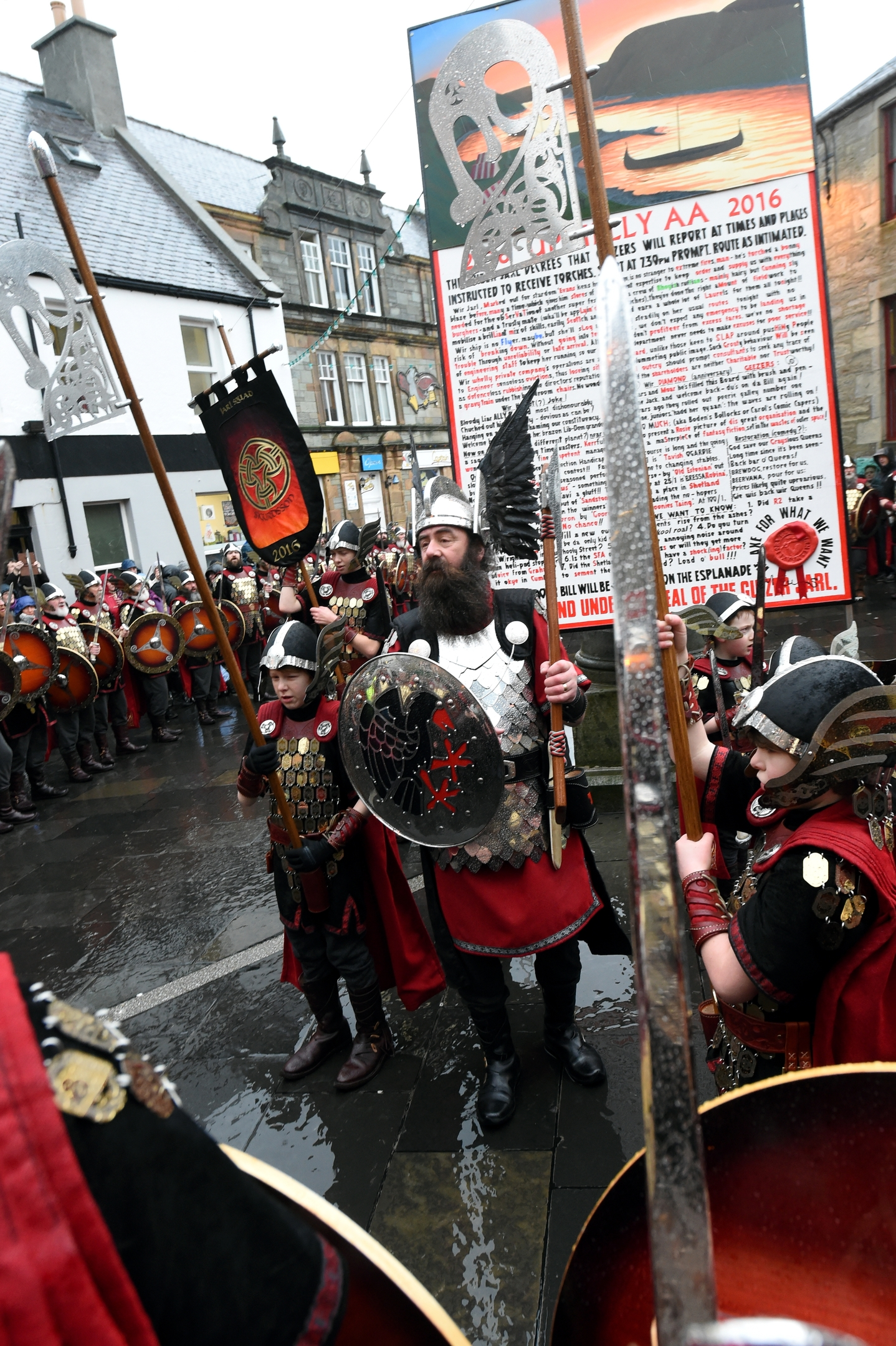 Up Helly Aa, Lerwick, Shetland. The morning march in Lerwick.