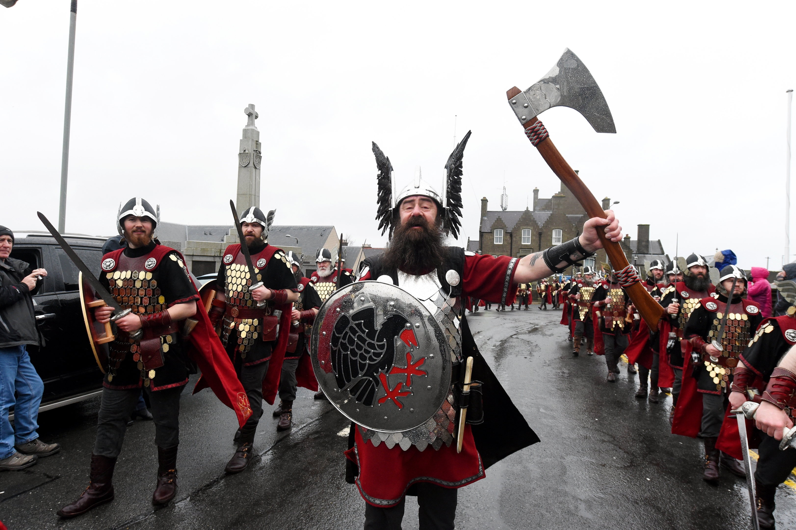 Up Helly  Aa, Lerwick, Shetland. The morning march in Lerwick. Guizer Jarl, Mark Evans.