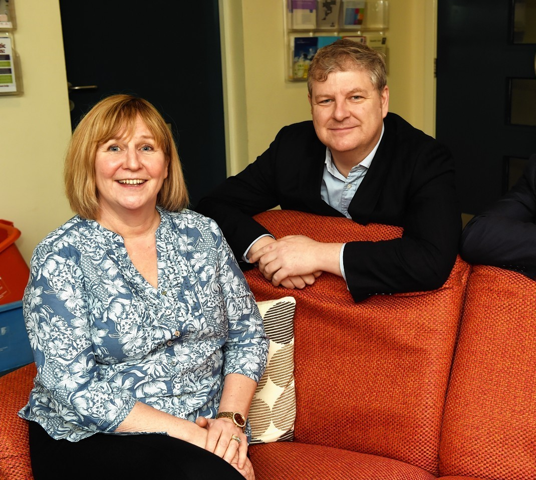 Elle Johnston, services manager at Women's Aid Refuge, Marleon House, Elgin with Angus Robertson, MP