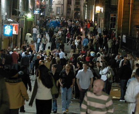 Clubbers on Belmont Street, Aberdeen.