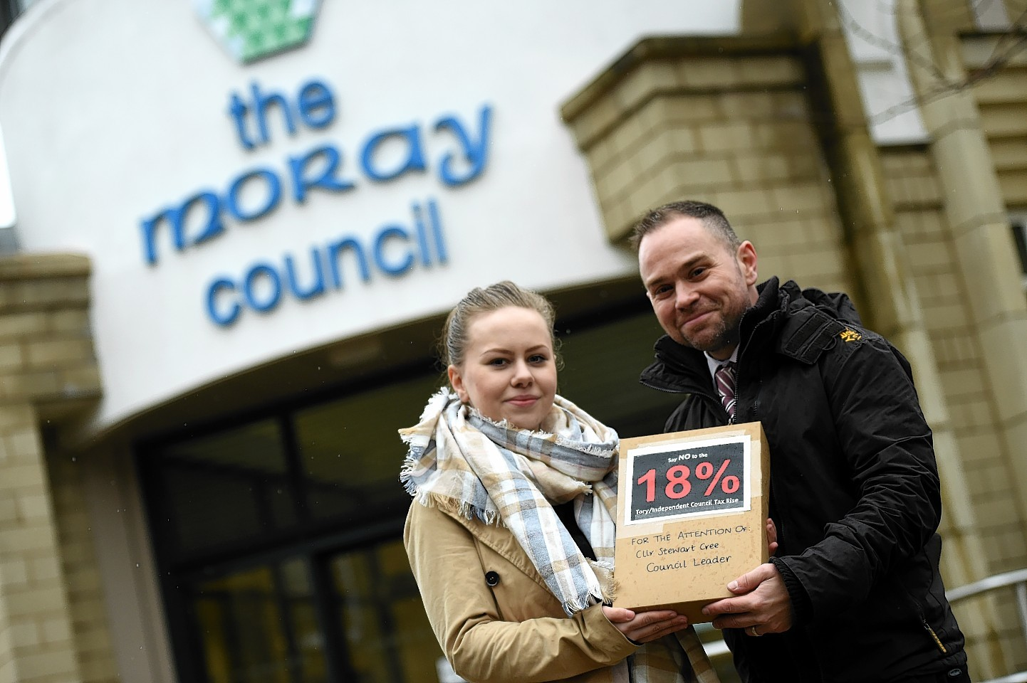Jo-Ann De-Sykes, and James O'Connor, with the petition against the raising of Council Tax in Moray