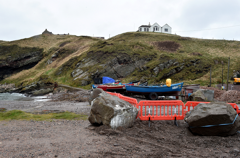 Boulders and barriers at Cove Harbour are stopping fishermen parking their boats.