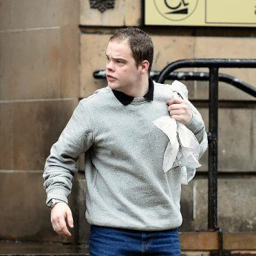 Andrew Hogg leaving Elgin Sheriff Court. Picture by Gordon Lennox
