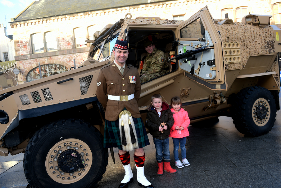 The Royal Regiment of Scotland on display in Falcon Square, Inverness