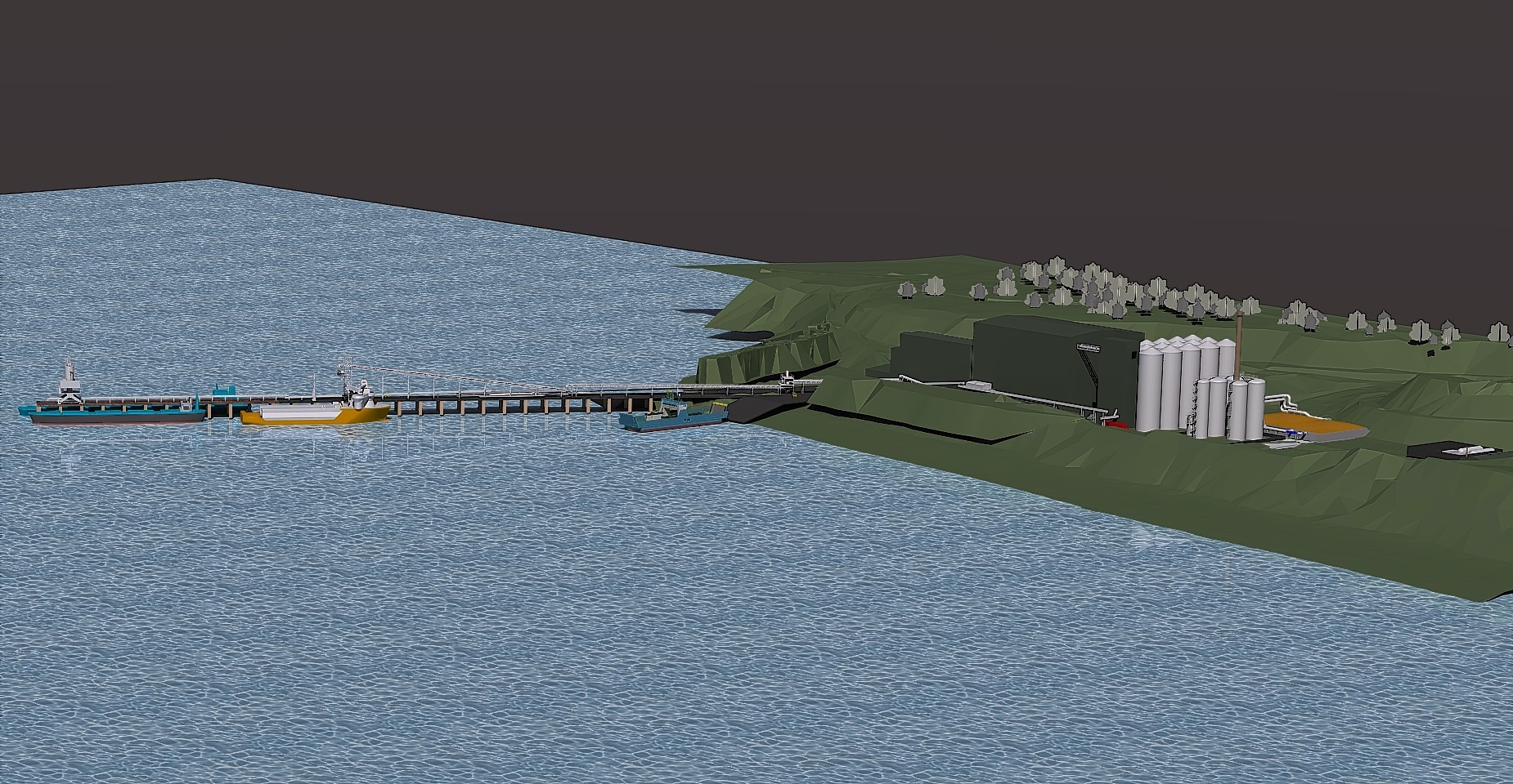 A computer-generated image of how the new fish feed plant at Kyleakin will look