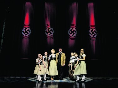 Gray O'Brien as Captain Von Trapp and Lucy O'Byrne as Maria in The Sound of Music. Mark Yeoman