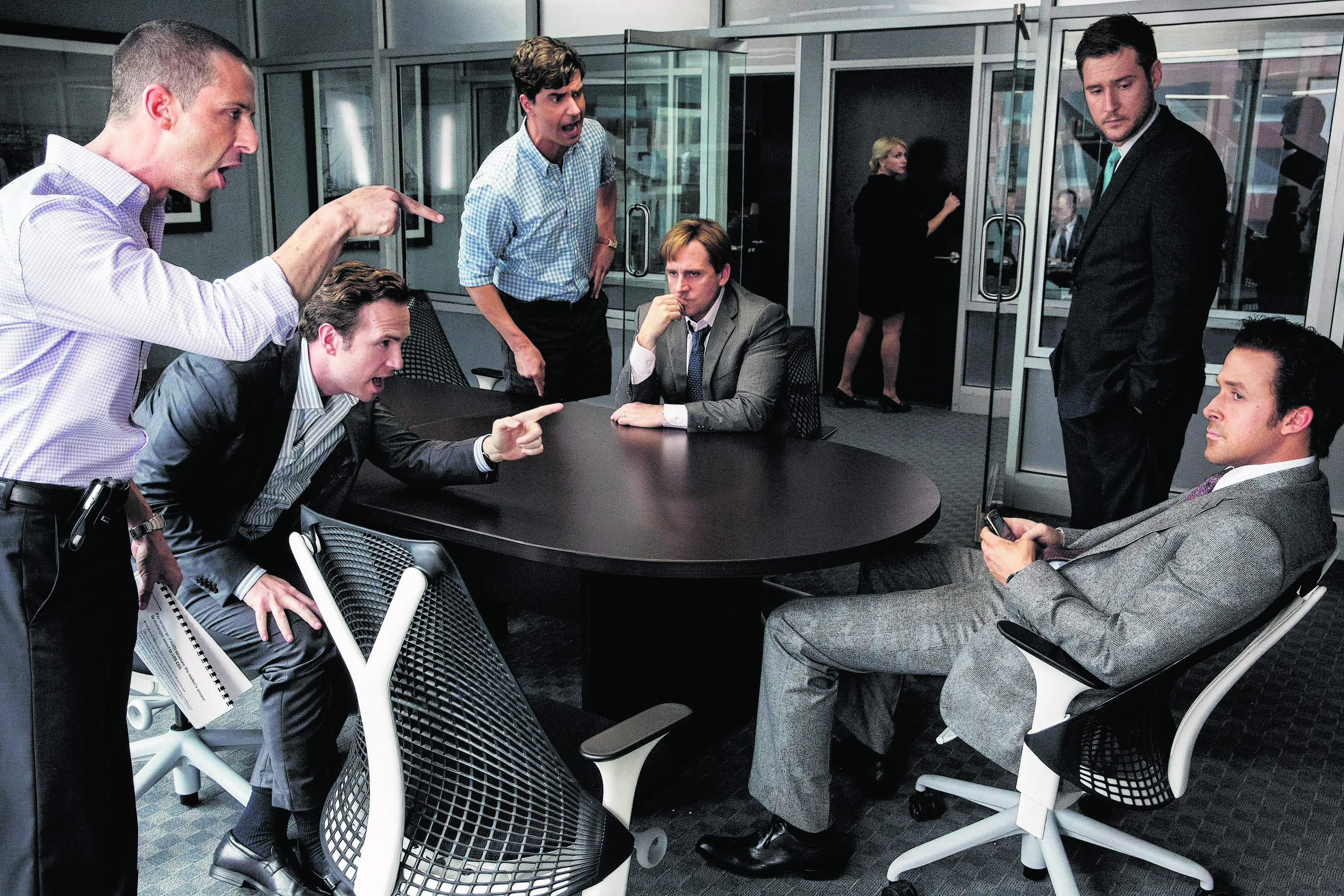 From left: Jeremy Strong, Rafe Spall, Hamish Linklater, Steve Carell, Jeffry Griffin and Ryan Gosling in The Big Short