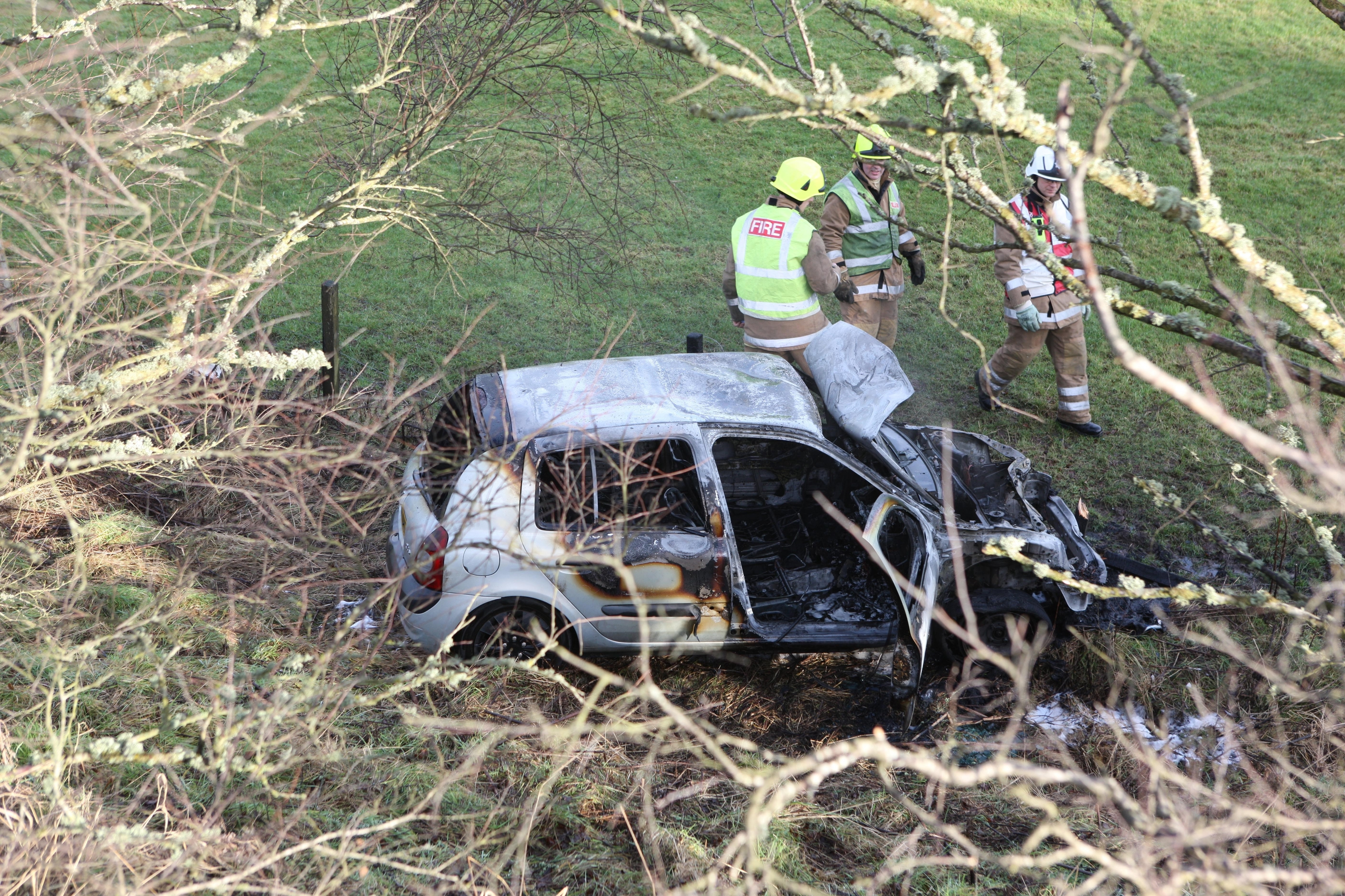 The car burst into flames