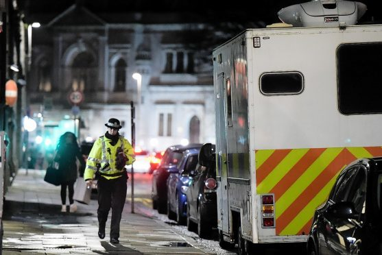 Police at the scene in Union Terrace, Aberdeen