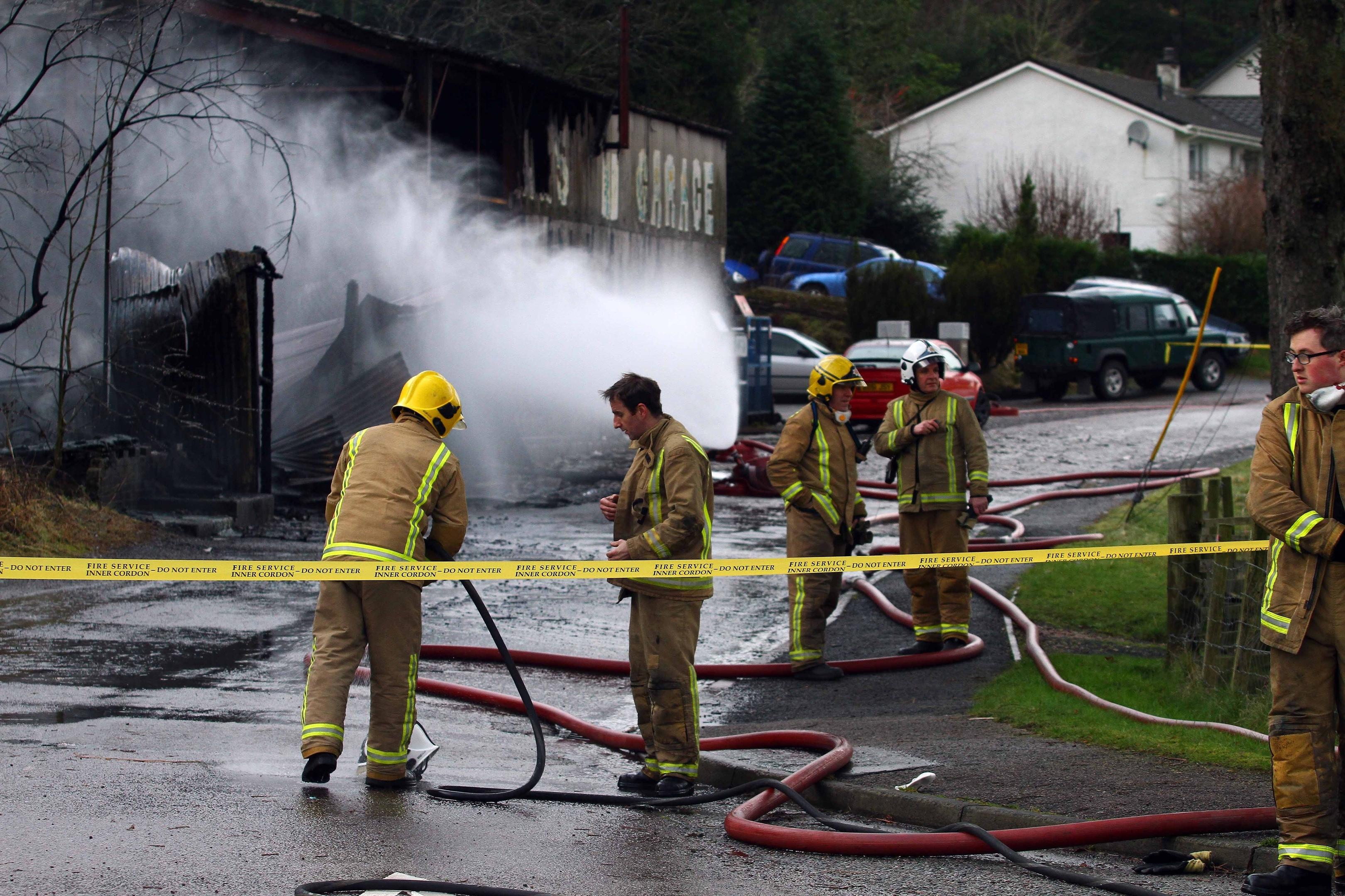 Fire crews attended a fire in Gunn's Garage