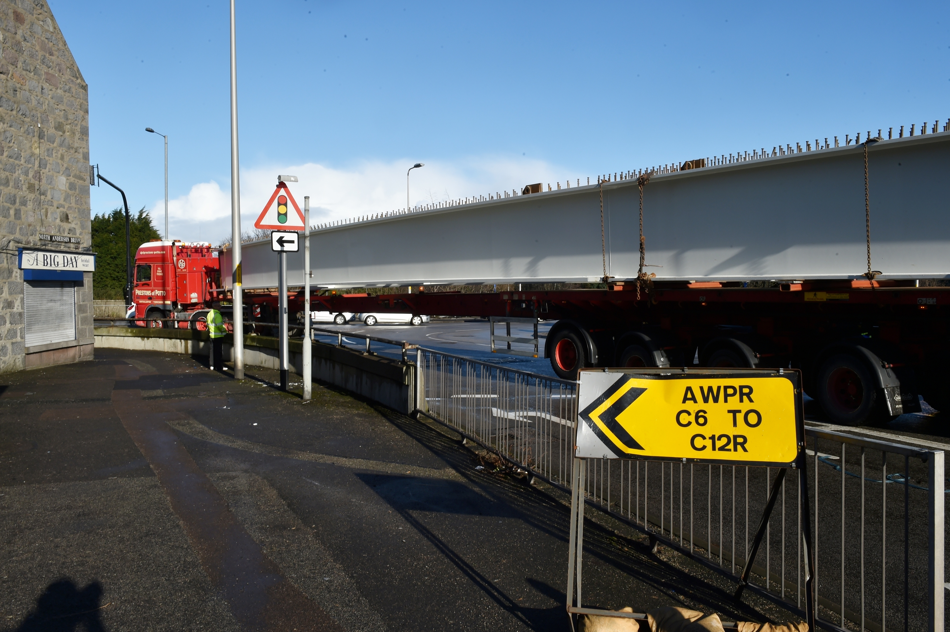 The AWPR lorries move through Aberdeen, transporting the large beams
