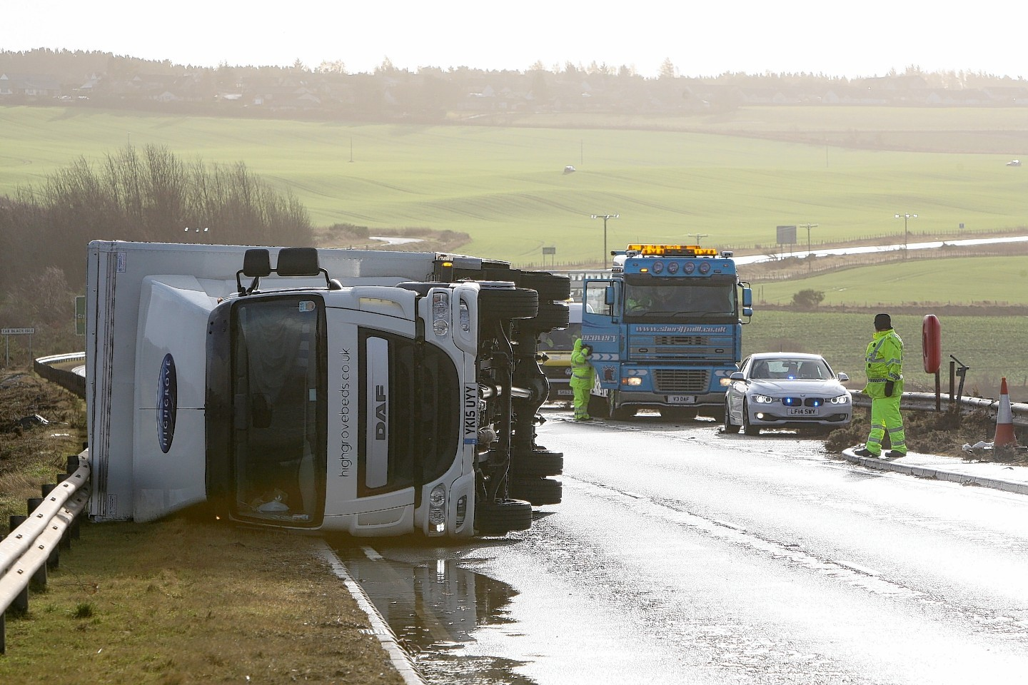 Overturned lorry on the Cromarty Firth bridge
