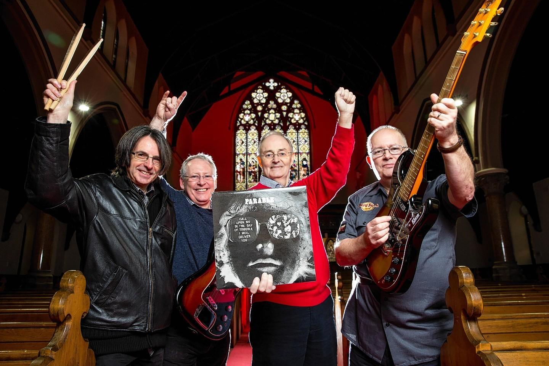 Drummer Alex Smith (65) bass player Dave McRoberts (62) Keyboard player David Murdoch (65) and lead guitarist Doug McRoberts (66) pictured in Pollokshield Parish Church