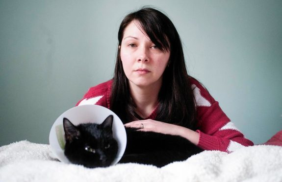 Faye Winter and her cat McQueen